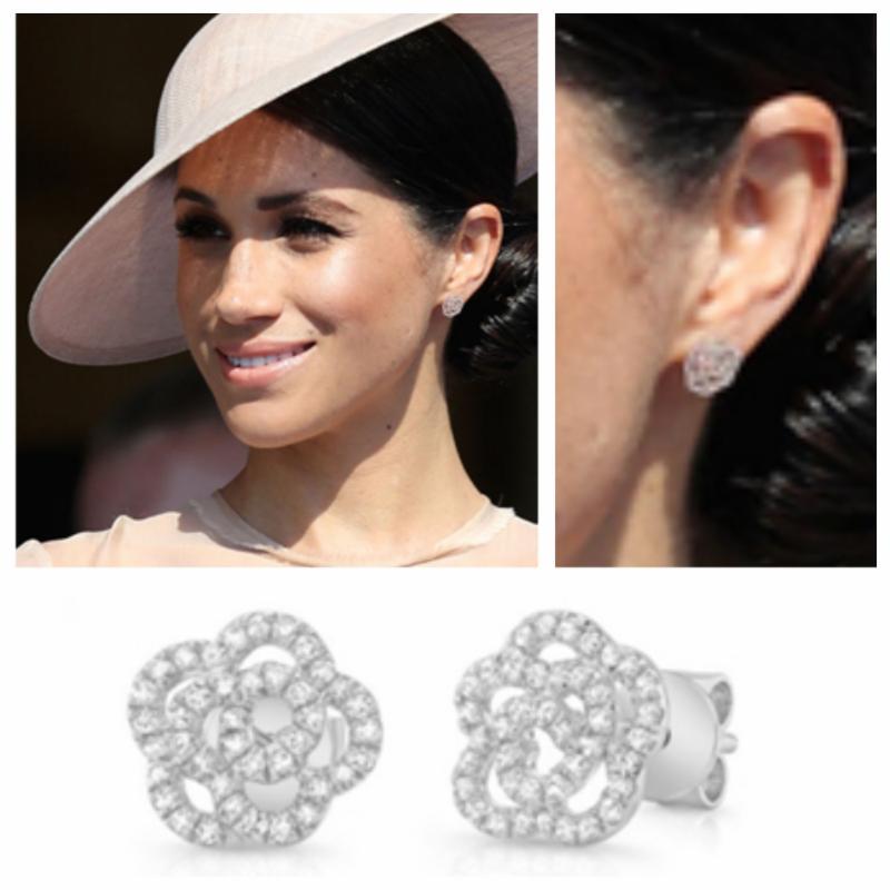 Diamond Flower Earrings Befit for a Royal