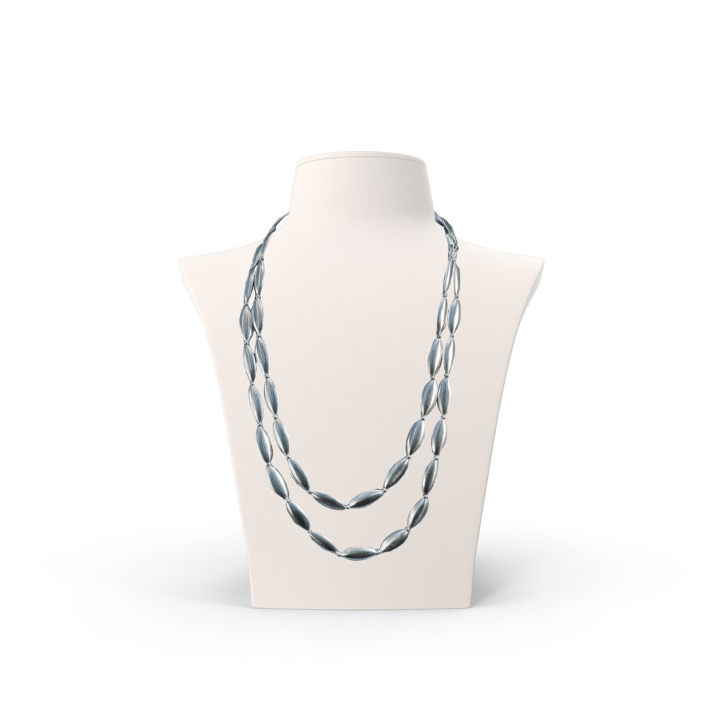 Anticoa Long Beaded Sterling Silver Necklace